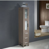 Torino Gray Oak Freestanding Tall Bathroom Linen Side Cabinet, Dimensions: 12'' W x 15'' D x 68-1/8'' H