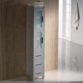 Torino Gray Freestanding Tall Bathroom Linen Side Cabinet, 12'' W x 15'' D x 68-1/8'' H