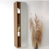 Senza Teak Wall Mounted Bathroom Linen Side Cabinet with 4 Cubby Holes and Mirror, Dimensions: 15-3/4'' W x 12'' D x 67'' H