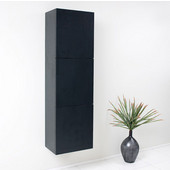 Senza Black Wall Mounted Bathroom Linen Side Cabinet with 3 Large Storage Areas, Dimensions: 17-3/4'' W x 12'' D x 59'' H