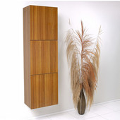 Senza Teak Wall Mounted Bathroom Linen Side Cabinet with 3 Large Storage Areas, Dimensions: 17-3/4'' W x 12'' D x 59'' H