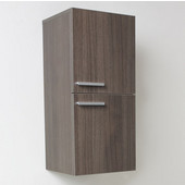 Senza Gray Oak Wall Mounted Bathroom Linen Side Cabinet with 2 Storage Areas, Dimensions: 12-5/8'' W x 12'' D x 27-1/2'' H