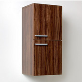 Senza Walnut Wall Mounted Bathroom Linen Side Cabinet with 2 Storage Areas, Dimensions: 12-5/8'' W x 12'' D x 27-1/2'' H