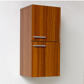 Senza Teak Wall Mounted Bathroom Linen Side Cabinet with 2 Storage Areas, Dimensions: 12-5/8'' W x 12'' D x 27-1/2'' H