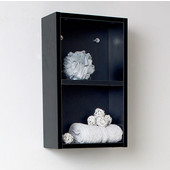 Senza Black Wall Mounted Bathroom Linen Side Cabinet with 2 Open Storage Areas, Dimensions: 11-7/8'' W x 5-7/8'' D x 19-5/8'' H