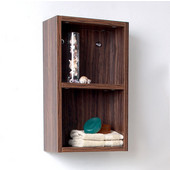 Senza Walnut Wall Mounted Bathroom Linen Side Cabinet with 2 Open Storage Areas, Dimensions: 11-7/8'' W x 5-7/8'' D x 19-5/8'' H