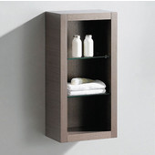 Allier Gray Oak Wall Mounted Bathroom Linen Side Cabinet with 2 Glass Shelves, Dimensions: 15-3/4'' W x 10'' D x 32'' H