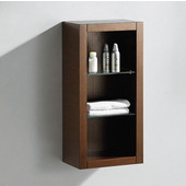 Allier Wenge Brown Wall Mounted Bathroom Linen Side Cabinet with 2 Glass Shelves, Dimensions: 15-3/4'' W x 10'' D x 32'' H