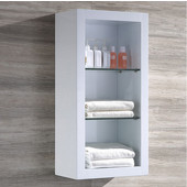 Allier White Wall Mounted Bathroom Linen Side Cabinet with 2 Glass Shelves, Dimensions: 15-3/4'' W x 10'' D x 32'' H