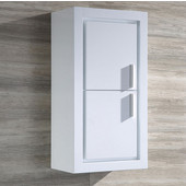 Allier White Wall Mounted Bathroom Linen Side Cabinet with 2 Doors, Dimensions: 15-3/4'' W x 10'' D x 30'' H