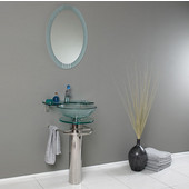 Ovale 24'' Modern Glass Wall Bathroom Vanity with Frosted Edge Mirror, Dimensions of Vanity: 24'' W x 19-1/2'' D x 34-1/2'' H