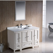 Oxford 48'' Antique White Traditional Bathroom Vanity Set, Dimensions of Vanity: 48'' W x 20-3/8'' D x 34-3/4'' H