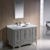 Oxford 48'' Gray Traditional Bathroom Vanity Set with Mirror and Faucet, 48'' W x 20-3/8'' D x 34-3/4'' H