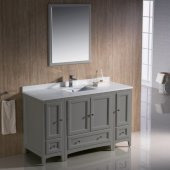 Oxford 54'' Gray Traditional Bathroom Vanity Set Set with Mirror and Faucet, 54'' W x 20-3/8'' D x 34-3/4'' H
