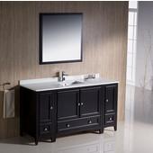 Oxford 60'' Espresso Traditional Bathroom Vanity Set, Dimensions of Vanity: 60'' W x 20-3/8'' D x 34-3/4'' H