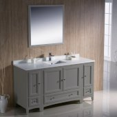 Oxford 60'' Gray Traditional Bathroom Vanity Set Set with Mirror and Faucet, 60'' W x 20-3/8'' D x 34-3/4'' H