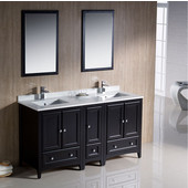 Oxford 60'' Espresso Traditional Double Sink Bathroom Vanity Set, Dimensions of Vanity: 60'' W x 20-3/8'' D x 34-3/4'' H