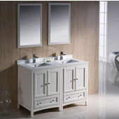 Oxford 48'' Antique White Traditional Double Sink Bathroom Vanity Set, Dimensions of Vanity: 48'' W x 20-3/8'' D x 34-3/4'' H