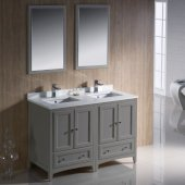 Oxford 48'' Gray Traditional Double Sink Bathroom Vanity Set Set with Mirror and Faucets, 48'' W x 20-3/8'' D x 34-3/4'' H