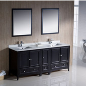 Oxford 72'' Espresso Traditional Double Sink Bathroom Vanity Set with Mirror and Faucets, Dimensions of Vanity: 72'' W x 20-3/8'' D x 34-3/4'' H