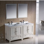 Oxford 60'' Antique White Traditional Double Sink Bathroom Vanity, Dimensions of Vanity: 60'' W x 20-3/8'' D x 34-3/4'' H