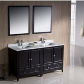 Oxford 60'' Espresso Traditional Double Sink Bathroom Vanity, Dimensions of Vanity: 60'' W x 20-3/8'' D x 34-3/4'' H