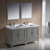 Oxford 60'' Gray Traditional Double Sink Bathroom Vanity Set with Mirror and Faucets, 60'' W x 20-3/8'' D x 34-3/4'' H