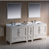 Oxford 84'' Antique White Traditional Double Sink Bathroom Vanity Set w/ Mirrors and Faucets, Dimensions of Vanity: 84'' W x 20-3/8'' D x 34-3/4'' H