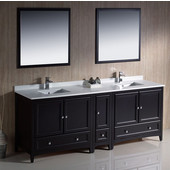 Oxford 84'' Espresso Traditional Double Sink Bathroom Vanity Set w/ Mirrors and Faucets, Dimensions of Vanity: 84'' W x 20-3/8'' D x 34-3/4'' H