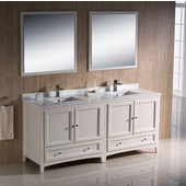 Oxford 72'' Antique White Traditional Double Sink Bathroom Vanity, Dimensions of Vanity: 72'' W x 20-3/8'' D x 34-3/4'' H
