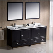 Oxford 72'' Espresso Traditional Double Sink Bathroom Vanity, Dimensions of Vanity: 72'' W x 20-3/8'' D x 34-3/4'' H
