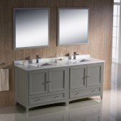 Oxford 72'' Gray Traditional Double Sink Bathroom Vanity Set with Mirror and Faucets, 72'' W x 20-3/8'' D x 34-3/4'' H