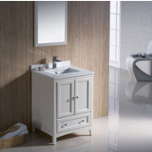 Oxford 24'' Antique White Traditional Bathroom Vanity Set, Dimensions of Vanity: 24'' W x 20-3/8'' D x 34-3/4'' H