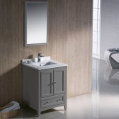Oxford 24'' Gray Traditional Bathroom Vanity Set with Mirror and Faucet, 24'' W x 20-3/8'' D x 34-3/4'' H