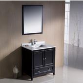 Oxford 30'' Espresso Traditional Bathroom Vanity, Dimensions of Vanity: 30'' W x 20-3/8'' D x 34-3/4'' H
