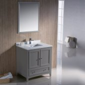 Oxford 30'' Gray Traditional Bathroom Vanity Set with Mirror and Faucet, 30'' W x 20-3/8'' D x 34-3/4'' H
