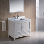 Oxford 36'' Antique White Traditional Bathroom Vanity Set, Dimensions of Vanity: 36'' W x 20-3/8'' D x 34-3/4'' H
