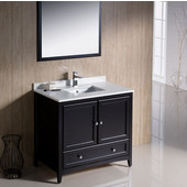 Oxford 36'' Espresso Traditional Bathroom Vanity Set, Dimensions of Vanity: 36'' W x 20-3/8'' D x 34-3/4'' H