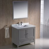 Oxford 36'' Gray Traditional Bathroom Vanity Set with Mirror and Faucet, 36'' W x 20-3/8'' D x 34-3/4'' H