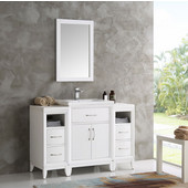 Cambridge 48'' White Traditional Bathroom Vanity with Mirror, Dimensions of Vanity: 48'' W x 18-5/16'' D x 33-2/5'' H