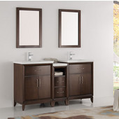 Cambridge 60'' Antique Coffee Double Sink Traditional Bathroom Vanity with Mirrors, Dimensions of Vanity: 60'' W x 18-5/16'' D x 33-2/5'' H