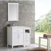 Cambridge 36'' White Traditional Bathroom Vanity with Mirror, Dimensions of Vanity: 36'' W x 18-5/16'' D x 33-2/5'' H