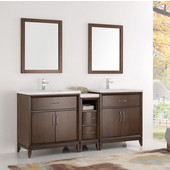 Cambridge 72'' Antique Coffee Double Sink Traditional Bathroom Vanity with Mirrors, Dimensions of Vanity: 72'' W x 18-5/16'' D x 33-2/5'' H