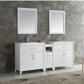 Cambridge 72'' White Double Sink Traditional Bathroom Vanity with Mirrors, Dimensions of Vanity: 72'' W x 18-5/16'' D x 33-2/5'' H