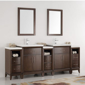 Cambridge 84'' Antique Coffee Double Sink Traditional Bathroom Vanity with Mirrors, Dimensions of Vanity: 84'' W x 18-5/16'' D x 33-2/5'' H