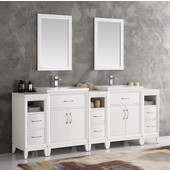 Cambridge 84'' White Double Sink Traditional Bathroom Vanity with Mirrors, Dimensions of Vanity: 84'' W x 18-5/16'' D x 33-2/5'' H
