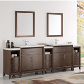 Cambridge 96'' Antique Coffee Double Sink Traditional Bathroom Vanity with Mirrors, Dimensions of Vanity: 96'' W x 18-5/16'' D x 33-2/5'' H