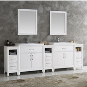 Cambridge 96'' White Double Sink Traditional Bathroom Vanity with Mirrors, Dimensions of Vanity: 96'' W x 18-5/16'' D x 33-2/5'' H