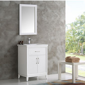 Cambridge 24'' White Traditional Bathroom Vanity with Mirror, Dimensions of Vanity: 24'' W x 18-5/16'' D x 33-2/5'' H