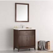 Cambridge 30'' Antique Coffee Traditional Bathroom Vanity with Mirror, Dimensions of Vanity: 30'' W x 18-5/16'' D x 33-2/5'' H